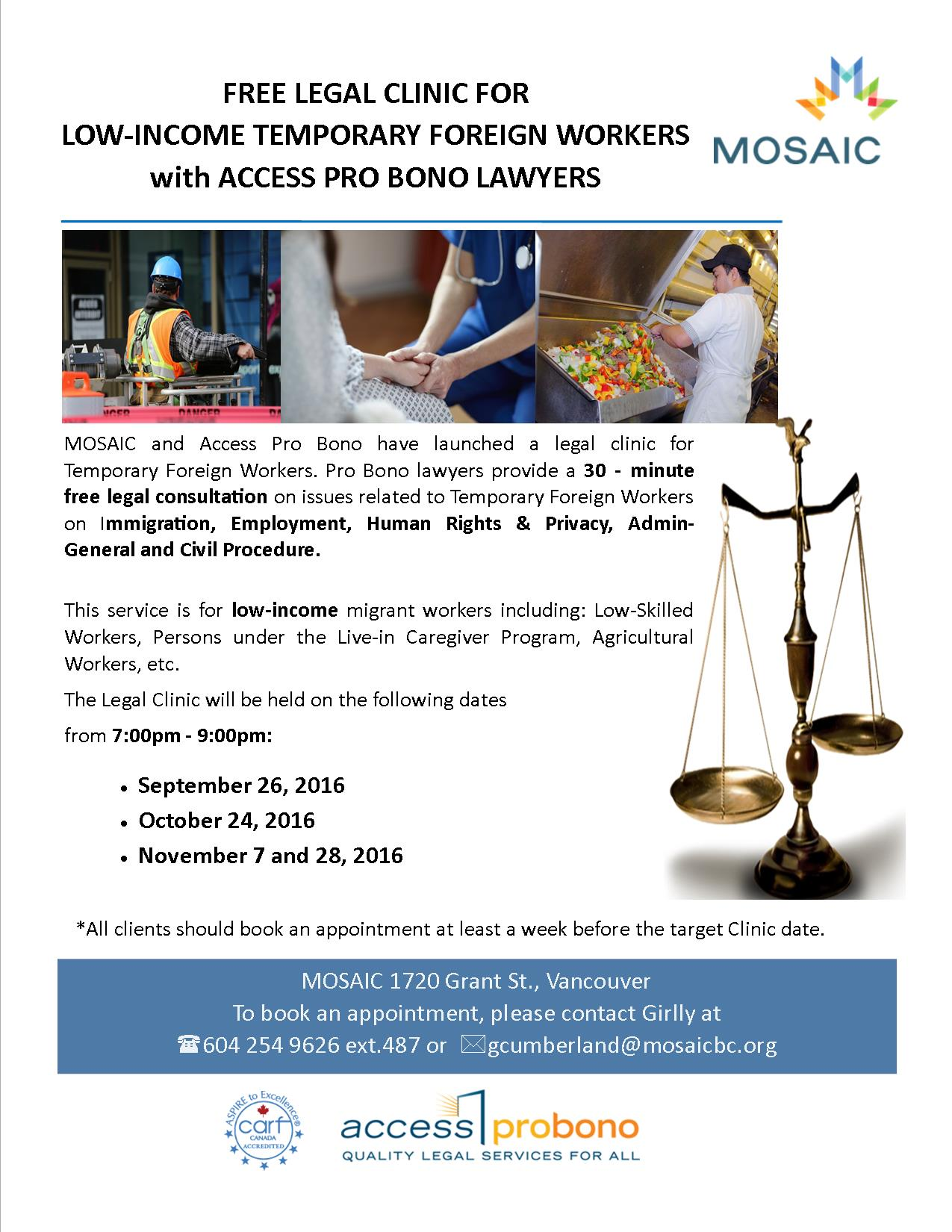 Free Legal Clinic for Low-Income Temporary Foreign Workers - MOSAIC