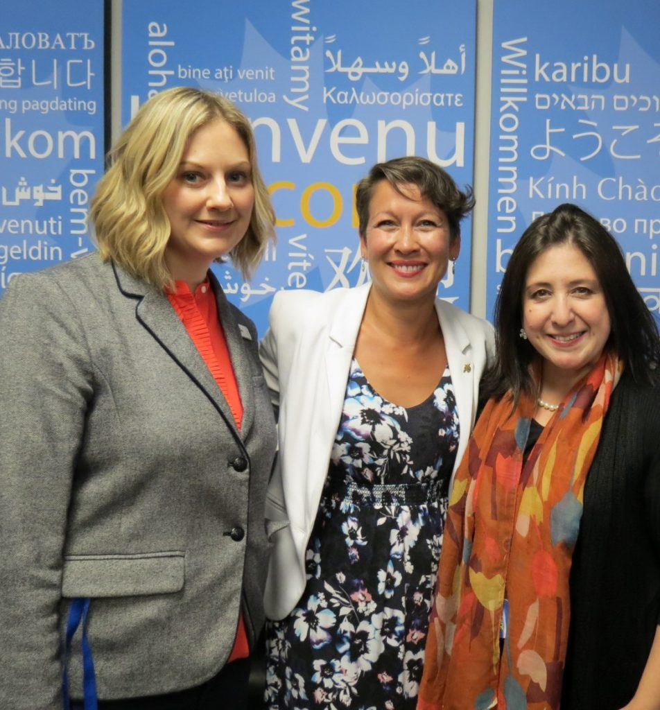 L-R: Lianne Stooshnoff, Site Manager, Rt. Hon. Melanie Mark, MLA for Vancouver-Mount Pleasant, Maria Poe, Event Organizer