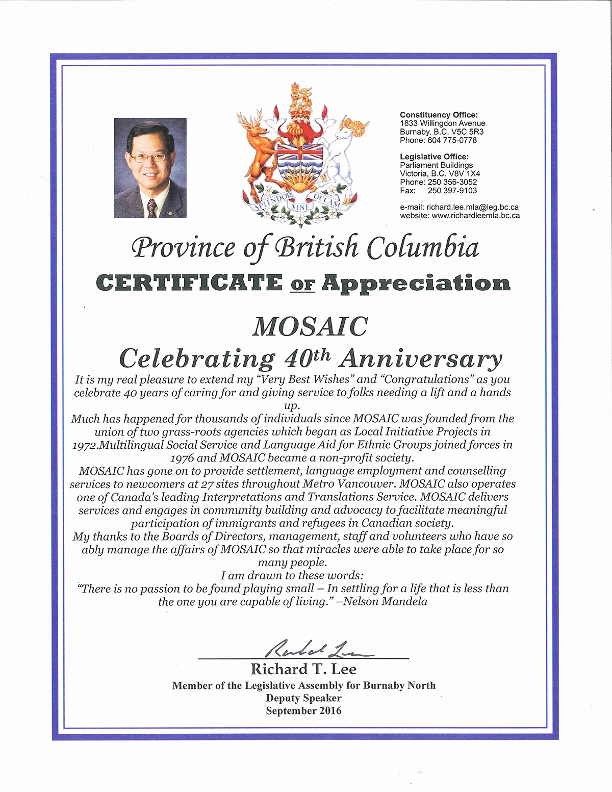Certificate of appreciation mosaic our thanks to mr richard lee for his support recognition on behalf of the province of british columbia yelopaper Choice Image