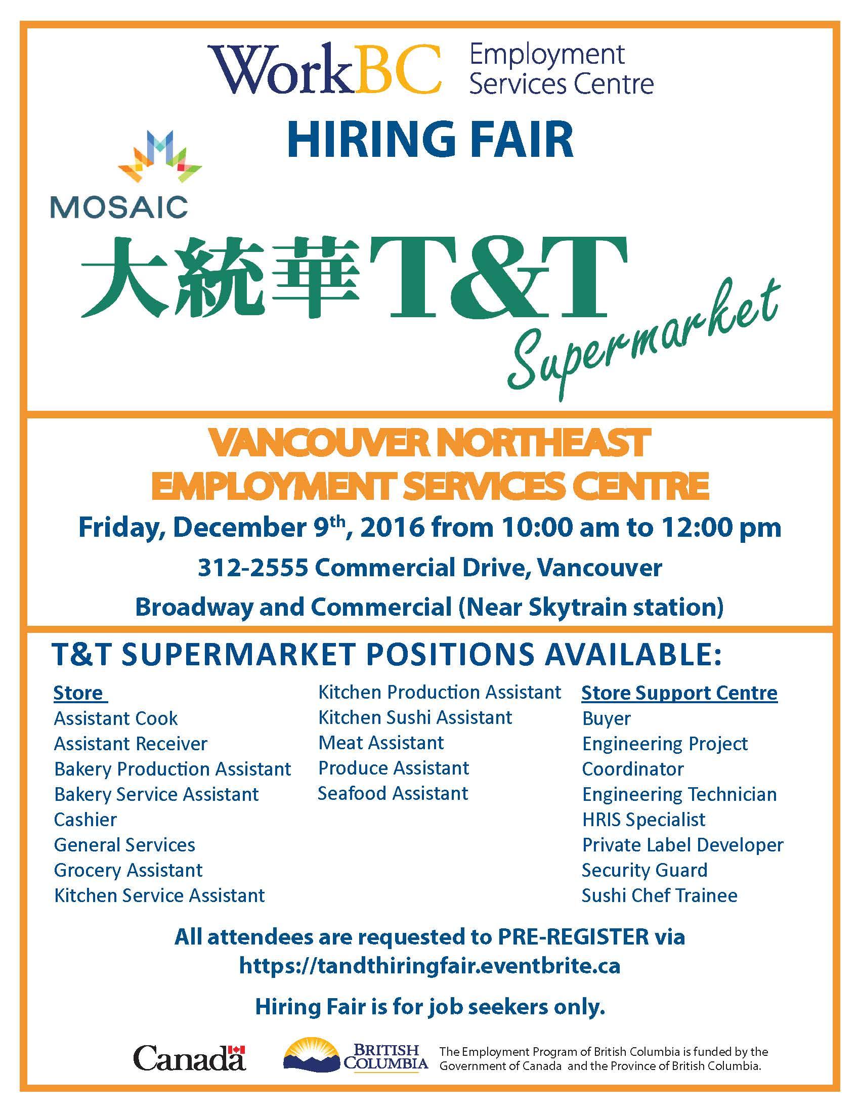 T&T Supermarket Hiring Fair - MOSAIC