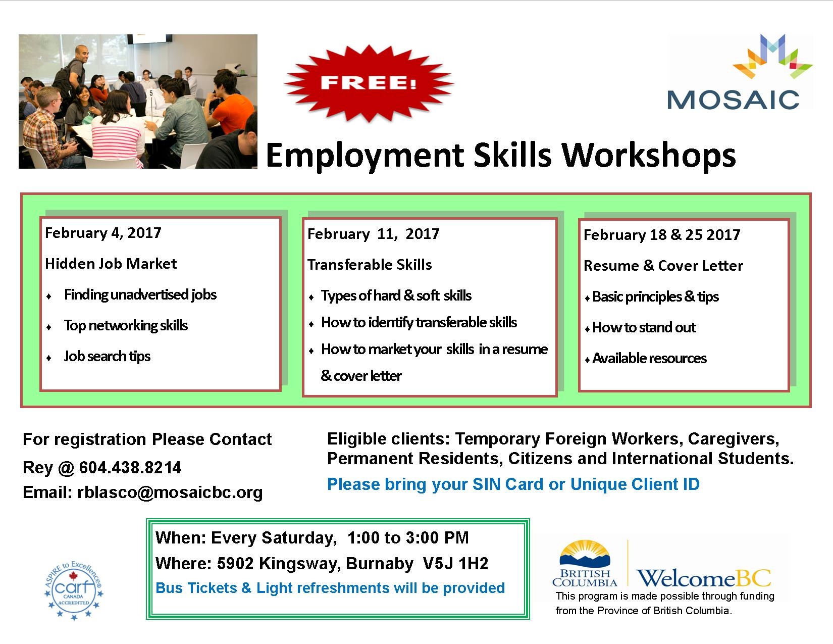 employment skills workshops mosaic venue