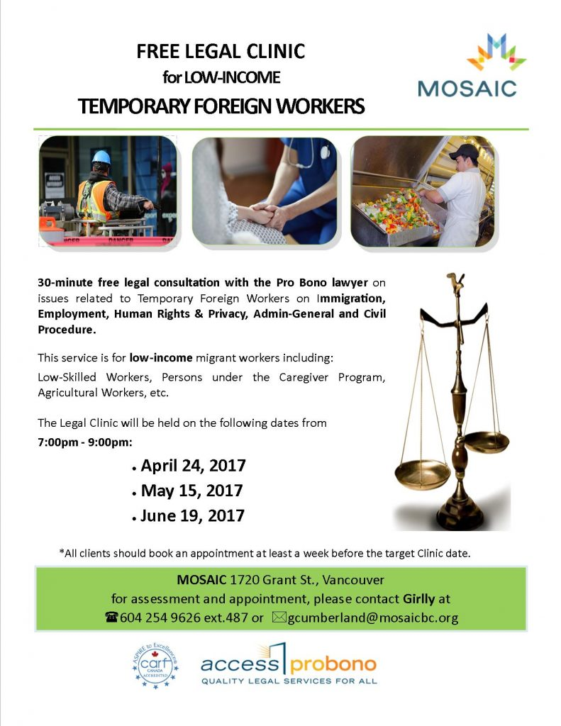 employment skills workshops mosaic legal clinic for low income temporary foreign workers