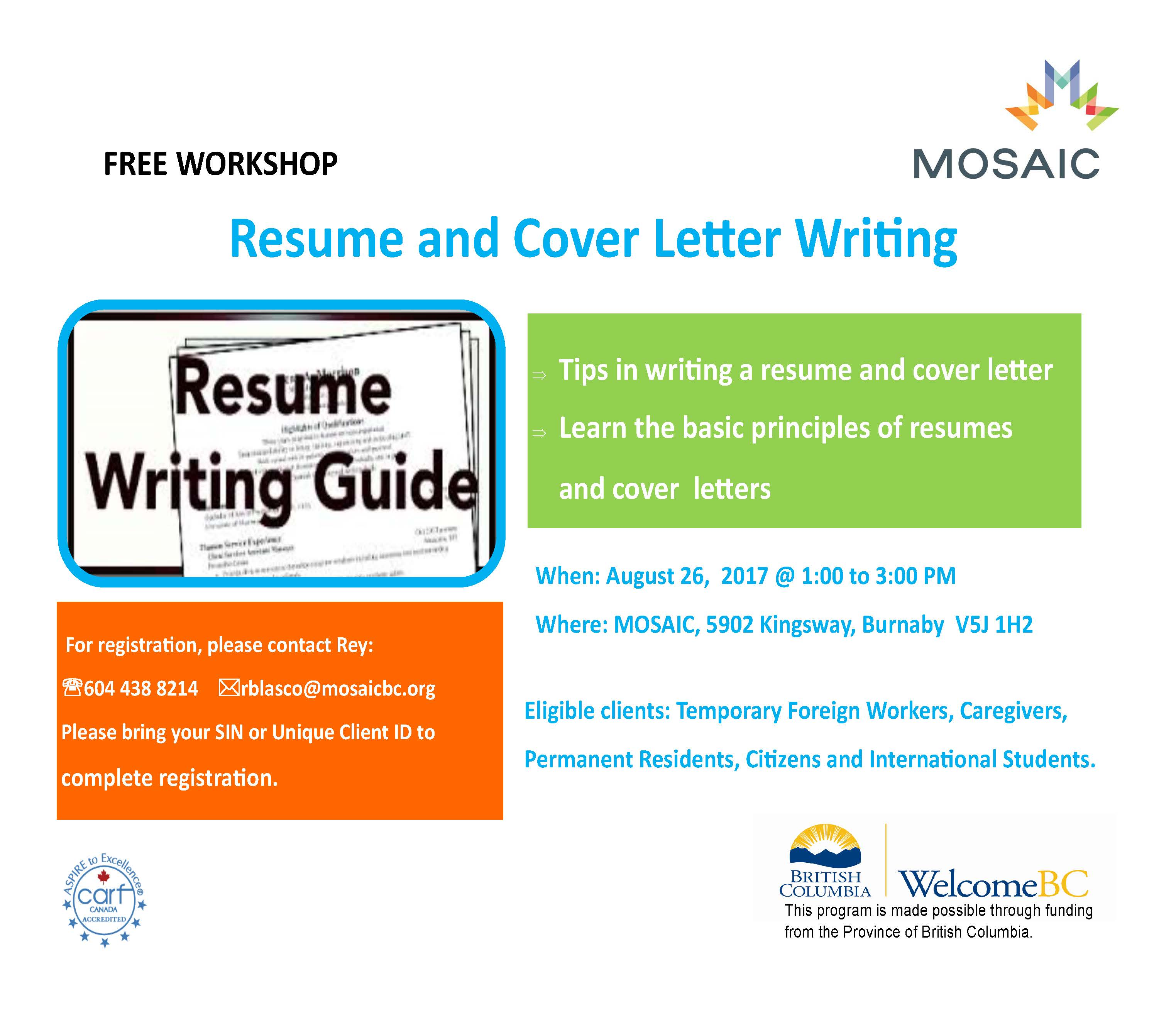 Basic Resume Cover Letter Writing Workshop Mosaic