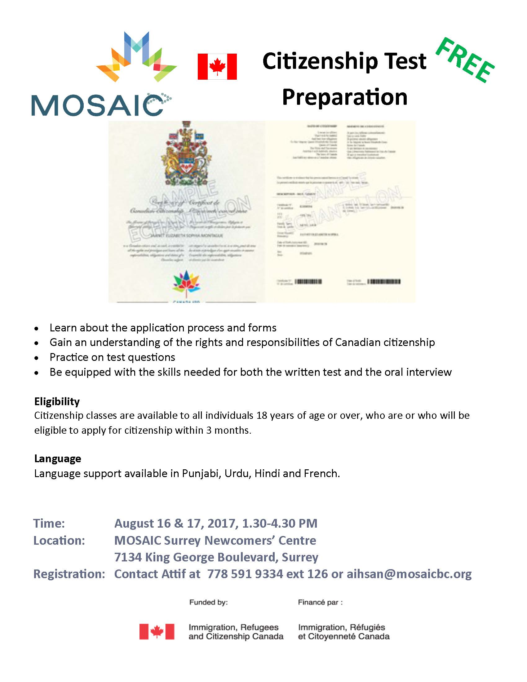 Canadian Citizenship Preparation - MOSAIC