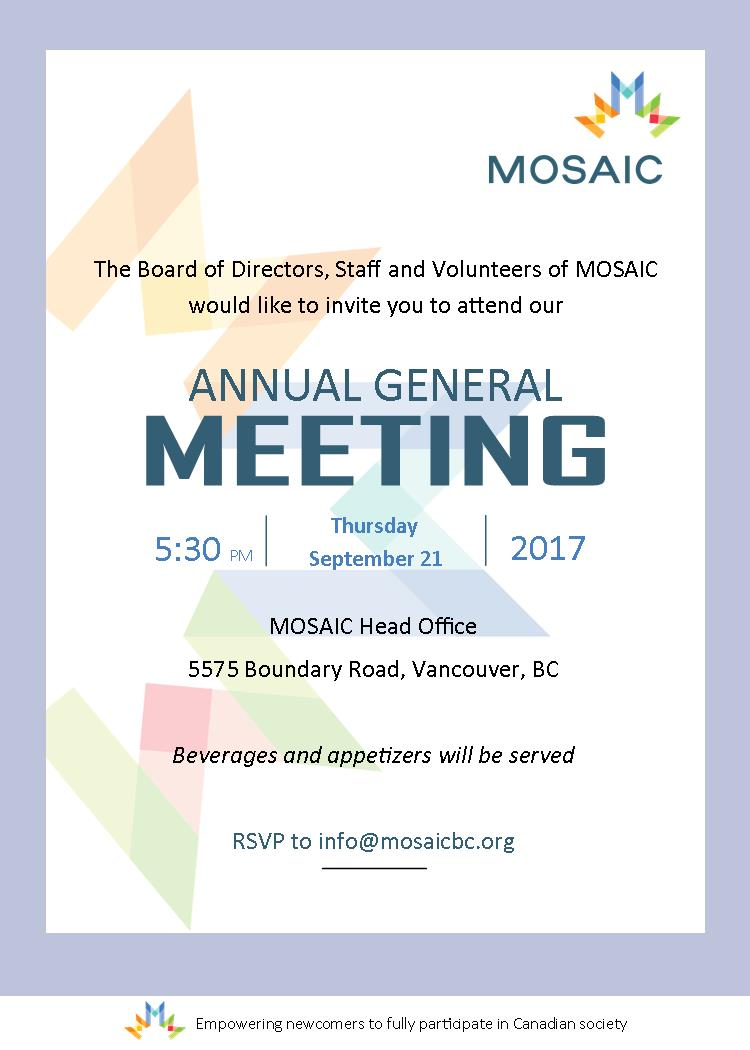 Save the Date! MOSAIC's AGM is Sept. 21 - MOSAIC
